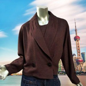 Vintage Korea Style Cropped Jacket Pleat Collar Chocolate Brown Fitted Medium
